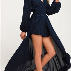 Honey Punch Embroidered Navy Long Sleeved Romper